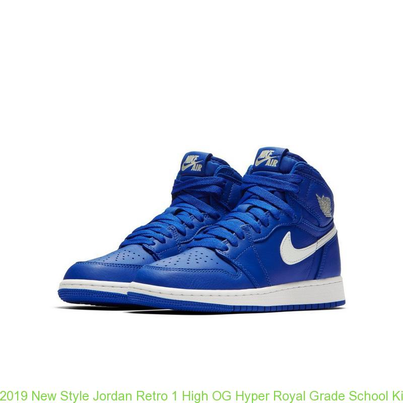 128cc16e86e 2019 New Style Jordan Retro 1 High OG Hyper Royal Grade School Kids Shoe ...