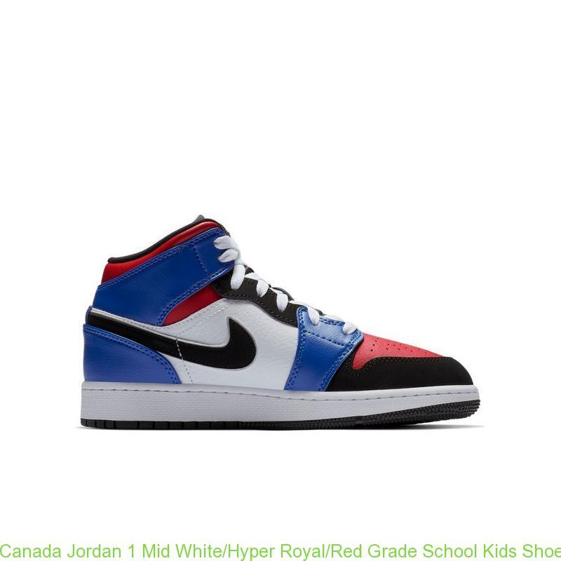 a0aa192e196e Canada Jordan 1 Mid White Hyper Royal Red Grade School Kids Shoe ...
