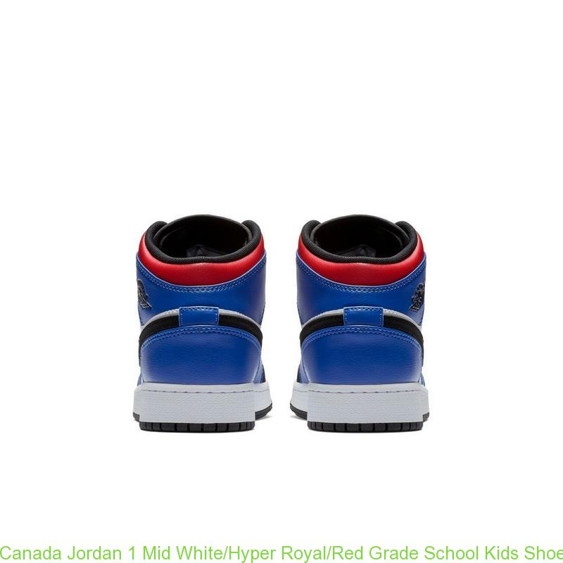 wholesale dealer 8fb9e 82d7d Canada Jordan 1 Mid White/Hyper Royal/Red Grade School Kids Shoe - cheap  jordans finish line - R0472