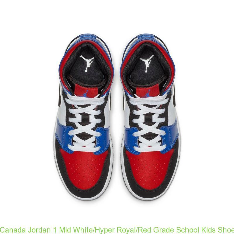 Canada Jordan 1 Mid White Hyper Royal Red Grade School Kids Shoe ... a302362477b1