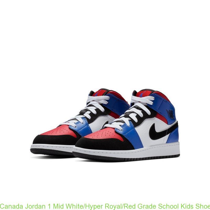 7592fbb4064 Canada Jordan 1 Mid White/Hyper Royal/Red Grade School Kids Shoe ...