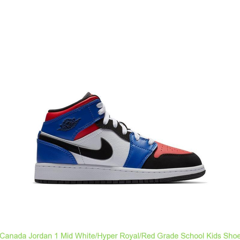 grossiste 4916c 7d04d Canada Jordan 1 Mid White/Hyper Royal/Red Grade School Kids Shoe - cheap  jordans finish line - R0472